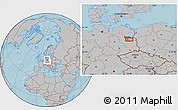 Gray Location Map of Berlin, hill shading
