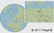 Savanna Style Location Map of Berlin, hill shading