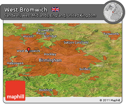 Free Satellite Panoramic Map of West Bromwich