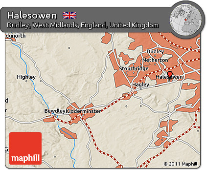 Free Shaded Relief 3D Map of Halesowen