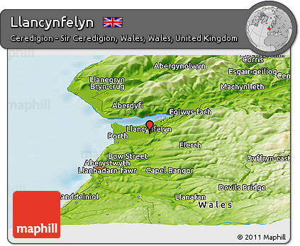 Free Physical Panoramic Map of Llancynfelyn