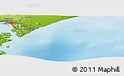"""Physical Panoramic Map of the area around 52°53'45""""N,159°1'30""""E"""