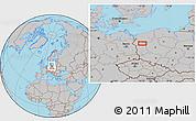 Gray Location Map of Gorzów Wielkopolski