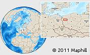 Shaded Relief Location Map of Gorzów Wielkopolski