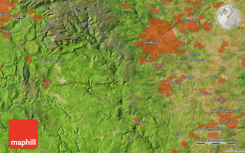 Bakewell United Kingdom  City new picture : Satellite Map of Bakewell