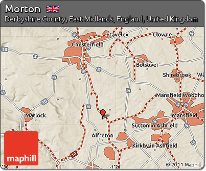 Map Of England Derbyshire.Free Shaded Relief Map Of Morton