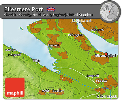 Free Physical 3D Map of Ellesmere Port