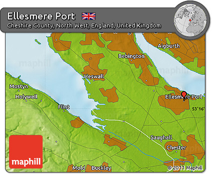 Free Physical Map of Ellesmere Port