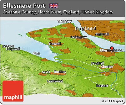 Free Physical Panoramic Map of Ellesmere Port