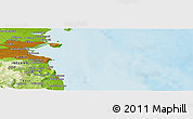 """Physical Panoramic Map of the area around 53°17'0""""N,5°52'30""""W"""