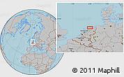 Gray Location Map of Leeuwarden, hill shading