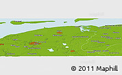"""Physical Panoramic Map of the area around 53°17'0""""N,6°1'30""""E"""