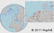Gray Location Map of Groningen, hill shading