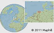 Savanna Style Location Map of Groningen, hill shading