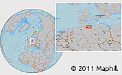 Gray Location Map of Hamburg, hill shading