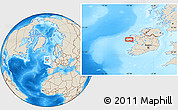 """Shaded Relief Location Map of the area around 53°40'8""""N,10°7'30""""W"""