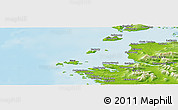 """Physical Panoramic Map of the area around 53°40'8""""N,10°7'30""""W"""