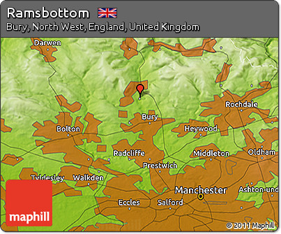 Free Physical 3D Map of Ramsbottom