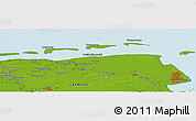 """Physical Panoramic Map of the area around 53°40'8""""N,7°43'29""""E"""
