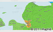 """Political 3D Map of the area around 53°40'8""""N,8°34'29""""E"""