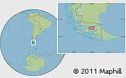 "Savanna Style Location Map of the area around 53°1'29""S,70°28'29""W"