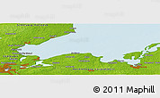 """Physical Panoramic Map of the area around 54°3'9""""N,11°7'30""""E"""