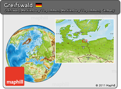 Free Physical Location Map of Greifswald