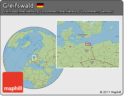 Free Savanna Style Location Map of Greifswald
