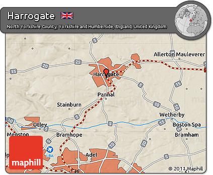 Harrogate England Map.Free Shaded Relief Map Of Harrogate