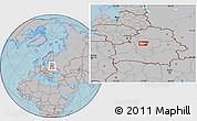 Gray Location Map of Minsk, hill shading