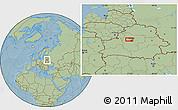 Savanna Style Location Map of Minsk, hill shading