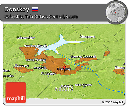 Free Physical Panoramic Map of Donskoy