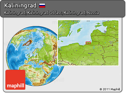 Physical Location Map of Kaliningrad