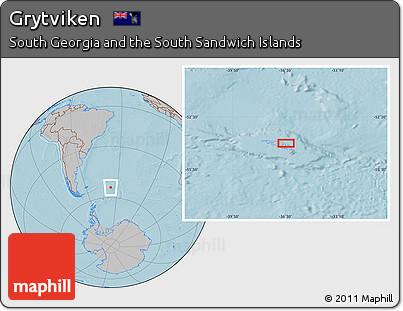 Free Gray Location Map of Grytviken hill shading