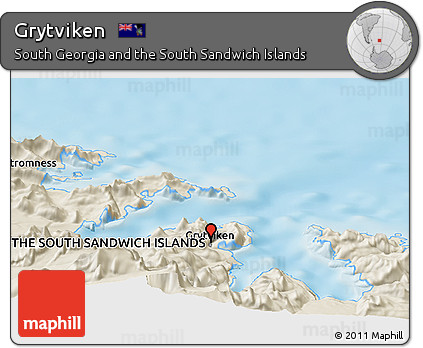Free Shaded Relief Panoramic Map of Grytviken