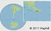 "Savanna Style Location Map of the area around 54°56'24""S,67°55'30""W"