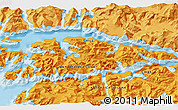 """Political 3D Map of the area around 54°56'24""""S,69°37'30""""W"""
