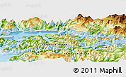 """Physical Panoramic Map of the area around 54°56'24""""S,69°37'30""""W"""