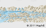 "Shaded Relief Panoramic Map of the area around 54° 56' 24"" S, 69° 37' 30"" W"