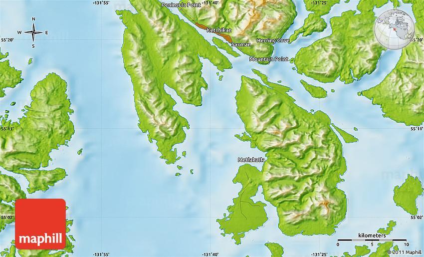 Physical Map of Ketchikan on sitka map, glacier bay map, chevak map, metlakatla map, skagway walking map, alaska map, superior map, juneau map, nanwalek map, anchorage map, lake and peninsula borough map, tongass national forest map, chitina map, tin city map, bethel map, kobuk map, prince william sound map, north pole map, london map, unalakleet map,