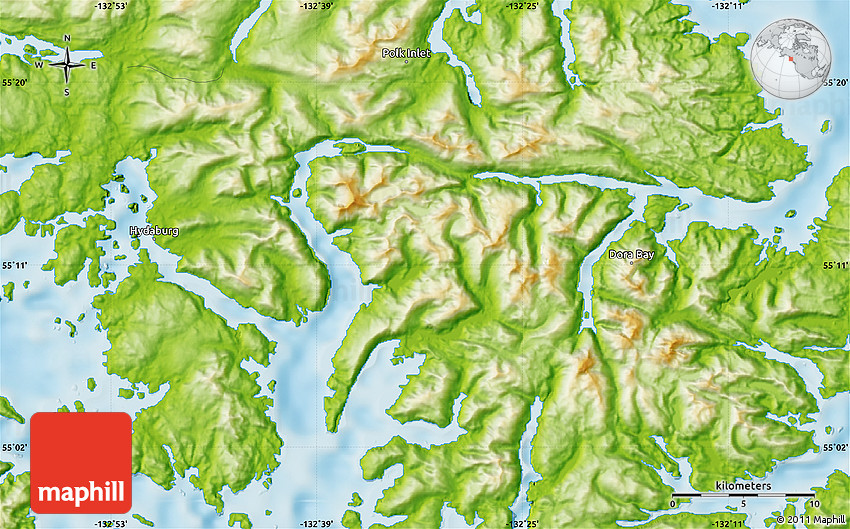 Physical Map of Dora Bay on