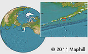 """Satellite Location Map of the area around 55°11'31""""N,161°25'30""""W"""