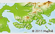 """Physical 3D Map of the area around 55°11'31""""N,162°16'30""""W"""