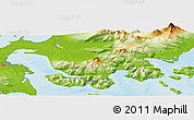 """Physical Panoramic Map of the area around 55°11'31""""N,162°16'30""""W"""