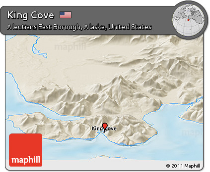 Shaded Relief Panoramic Map of King Cove