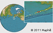 """Satellite Location Map of the area around 55°11'31""""N,163°7'30""""W"""
