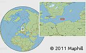 "Savanna Style Location Map of the area around 55°11'31""N,16°13'30""E"