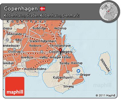 Free Shaded Relief Map of Copenhagen