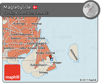 Free Shaded Relief Map of Maglebylille