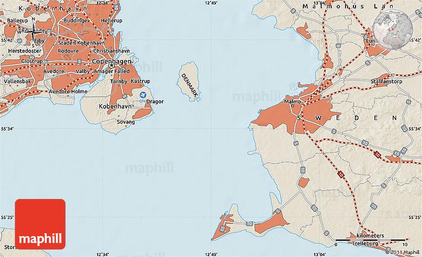 Shaded Relief Map of Copenhagen